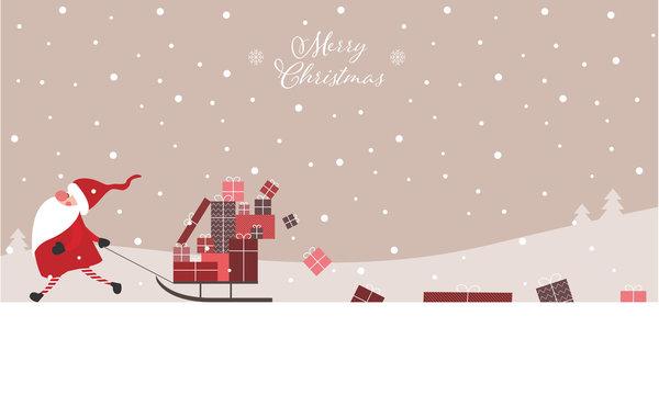 Merry Christmas - Geschenkkarte, Weihnachtswichtel zieht Schlitten mit Geschenken hinter sich her, Banner