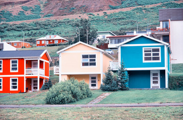 Colourful buildings of Iceland with beautiful green landscape in the background