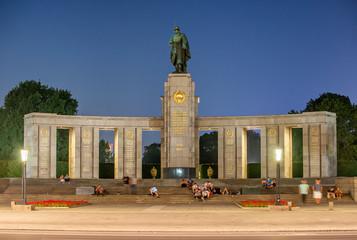 BERLIN, GERMANY - JULY 24, 2016: Soviet Memorial in Tiergarten at night in Berlin
