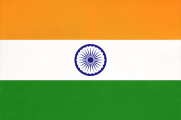 India national fabric flag, textile background. Symbol of international asian world country.