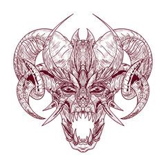 Demon goat Baphomet with sacred occult eye. Satanic goat head. Binary satanic symbol. Vector illustration isolated. Tattoo design, retro, music, summer, print symbol for biker black metal themes.
