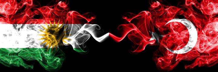 Kurdistan vs Turkey, Turkish smoke flags placed side by side. Thick colored silky smoke flags of Kurds and Turkey, Turkish
