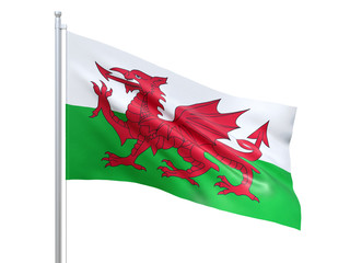 Wales flag waving on white background, close up, isolated. 3D render