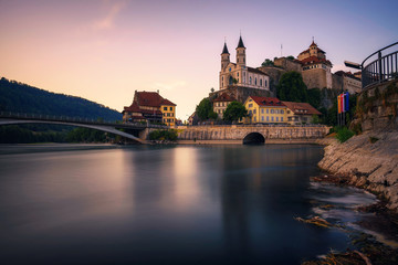 Aarburg Castle and the Aare river in the canton of Aargau, Switzerland