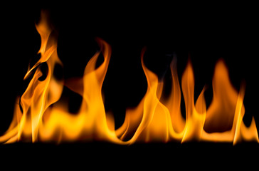 Printed roller blinds Fire / Flame Flame on a black background