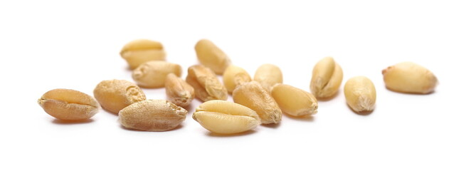 Fotobehang Macrofotografie Wheat kernels isolated on white background, macro