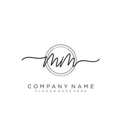 MM Initial handwriting logo vector