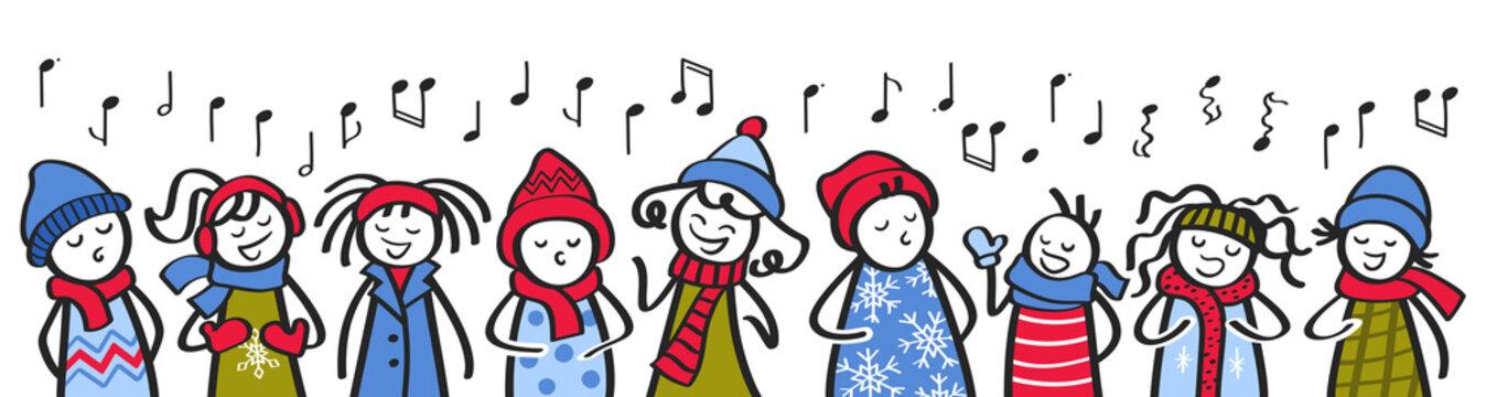 Choir, carol singers, stick figures in winter clothing singing song, banner