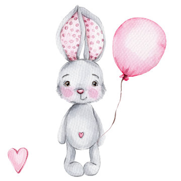 Cute cartoon little bunny with pink balloon; watercolor hand draw illustration; with white isolated background