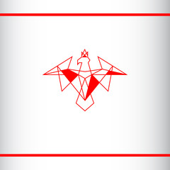 Red eagle with a crown on the head. Modern heraldic symbol. Polygonal geometric style. Vector logo design template.