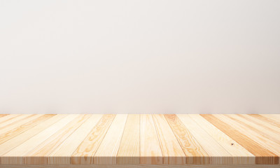 Empty top wooden table and cement wall background. Empty ready for your product display or montage. illustration 3D rendering