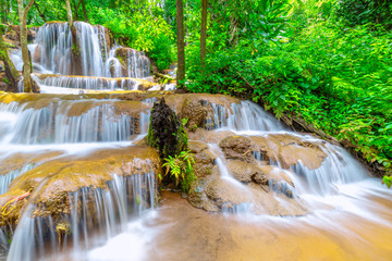 Recess Fitting Waterfalls Pa Wai Waterfall,Beautiful waterfall in Tropical Rain forest,Tak Province, Thailand
