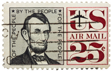 USA - CIRCA 1960: A stamp printed in USA shows portrait of president Abraham Lincoln