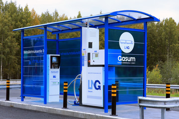 Gasum LNG Dispenser for Heavy Duty Vehicles. Illustrative editorial content.