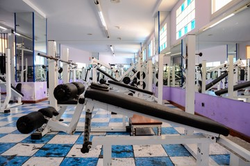 Equipment And Machines At The Empty Modern Gym Room , digital image picture