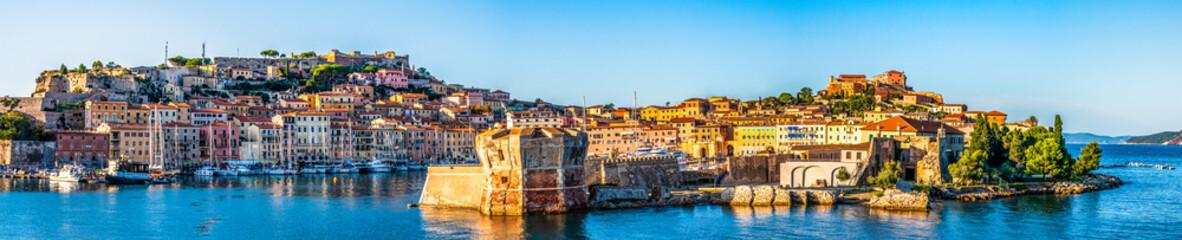Door stickers Tuscany harbor of portoferraio at the island elba in italy