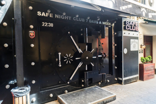 Tbilisi, Georgia - April 25, 2017: Entrance to the night club SAFE in Tbilisi