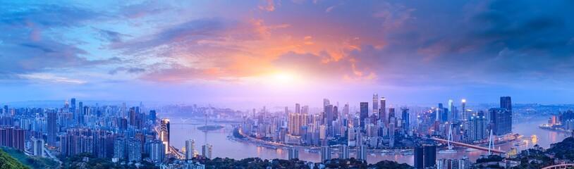 Aluminium Prints Blue sky Sunset cityscape skyline panorama in Chongqing