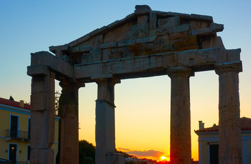 Wall Mural - Silhouette of the Gate of Athena in Athens at sunset
