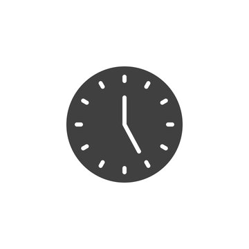 Five o'clock vector icon. filled flat sign for mobile concept and web design. Clock time glyph icon. Symbol, logo illustration. Vector graphics