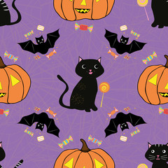 Fun hand drawn Halloween design with cats, bats, pumpkins and candy treats. Seamless vector pattern on purple background with subtle spiderweb texture. Great for giftwrap, party, invitations, web