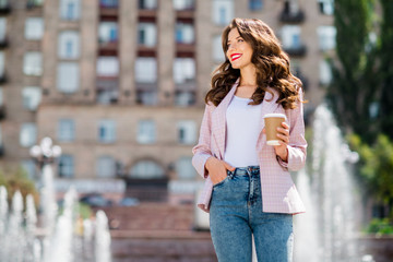 Fototapete - Portrait of her she nice attractive lovely charming winsome cheerful cheery wavy-haired girl spending weekend rest relax free time abroad adventure sightseeing landmark in downtown outdoors