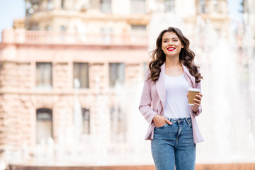Fototapete - Portrait of her she nice attractive lovely charming slim fit cheerful cheery wavy-haired businesslady spending weekend rest relax free time in downtown outdoors