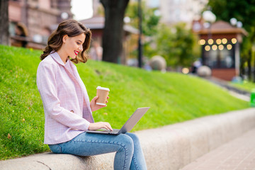 Fototapete - Profile side view portrait of her she nice attractive lovely charming confident cheerful cheery wavy-haired businesslady working writing letter email marketing on fresh air in park outdoors