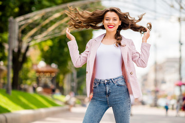 Fototapete - Portrait of her she nice-looking attractive lovely charming trendy glamorous confident cheerful cheery glad wavy-haired model posing enjoying fresh air having fun in park outdoors