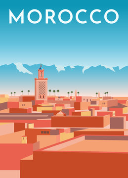 Morocco travel retro poster, vintage banner. Panorama of Marrakech city with red houses, mosque, blue mountains and sky. Hand drawing flat vector illustration.