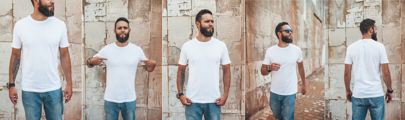 Collage of photos with young bearded guy in blank white t-shirt. Design men t shirt mock-up for print