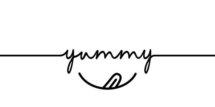 Yummy - continuous one black line with word. Minimalistic drawing of phrase illustration