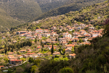 Andritsaina, Greece. Views of the traditional houses of the town of Andritsaina, in the mountainous interior of the Peloponnese peninsula