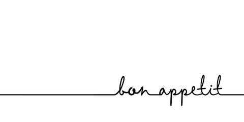 Custom vertical slats for kitchen with your photo Bon appetit - continuous one black line with word. Minimalistic drawing of phrase illustration