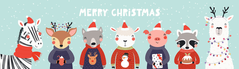 Hand drawn card, banner with cute animals in Santa Claus hats, sweaters, lights, pudding, gifts, text Merry Christmas. Vector illustration. Scandinavian style flat design. Concept kids print, invite.