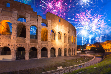 Fireworks display over the Colosseum in Rome, Italy