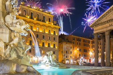 Fireworks display over the Pantheon square in Rome, Italy