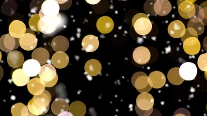 Fotobehang - christmas, holidays and luxury concept - shimmering golden lights and snow falling over dark night background