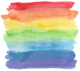 Watercolor lgbt flag isolated on white. Raster illustration with rainbow. Hand drawn painting.