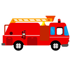Fire Engine - Cartoon Vector Image