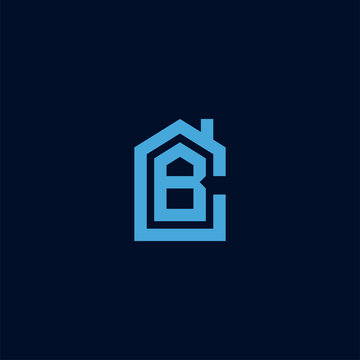 Initial letter CB BC house abstract logo icon design  minimalist monogram property real estate symbol concept  vector