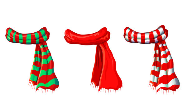 winter red scarf collection isolated on white background. illustration of red, green white striped scarves. christmas or holiday wool muffler icon set - winter warming clothes in cartoon style