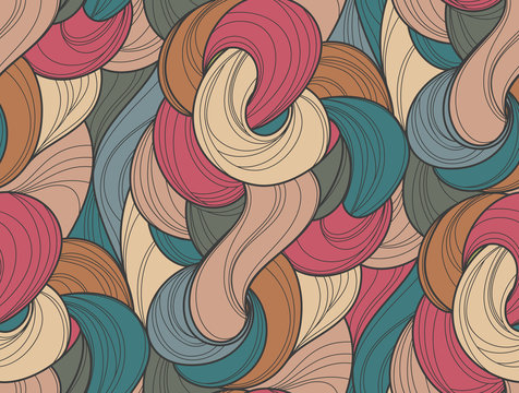 Abstract tangled waves seamless pattern. Colorful wavy striped background. Endless backdrop. Vector illustration