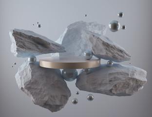 abstract geometric Stone and Rock shape background, minimalist mockup for podium display or showcase, 3d rendering. - fototapety na wymiar