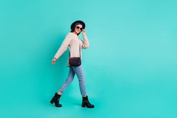 Fototapete - Full length body size view of her she nice-looking attractive lovely charming winsome slim cheerful cheery girl walking isolated over bright vivid shine vibrant color turquoise green background