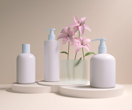 Mock up packaging of cream and shampoo cosmetic bottle with flower display background, 3d rendering.