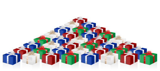 Many gifts, lot of presents, colored packages. Isolated vector illustration on white background.