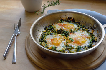 spinach pan with fried egg and spices, protein-rich vegetarian dish for low carb diet on a rustic wooden board