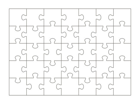 Puzzle pieces isolated on white background. Puzzle template 35 pieces. Vector illustration