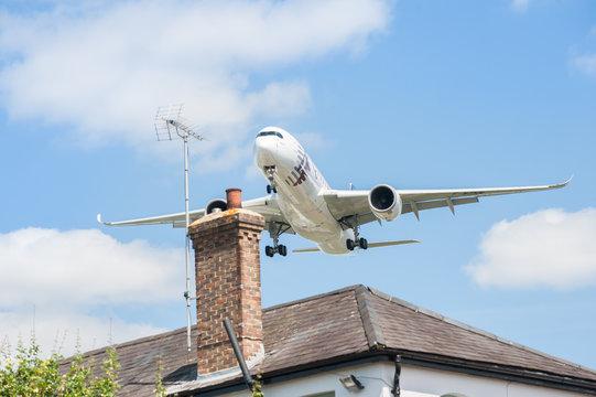 Qatar Airways Airbus A350 on landing approach to Farnborough, UK on July 14, 2014
